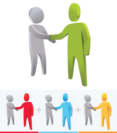 manos unidas: Apretón de manos 3D figura de palo. concepto de negocio. Vectores