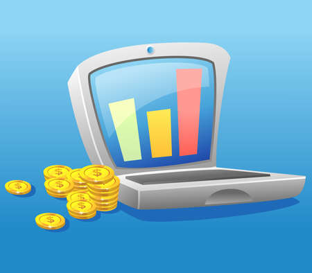 Laptop and pile of gold coins - Making profit with online business.