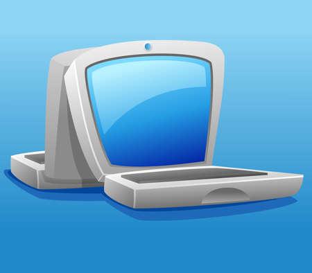 Two laptop illustration, communication metaphor vector illustration.