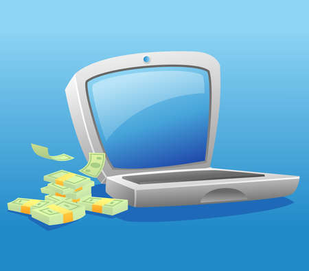 Illustration of a laptop with stack of money Illustration