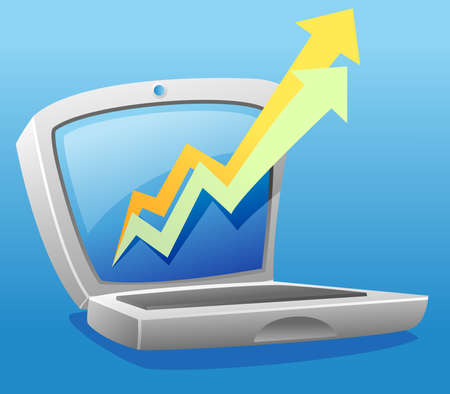 Laptop illustration with progressive arrow chart Illustration