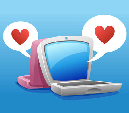 two laptop illustration and bubble speech heart symbol