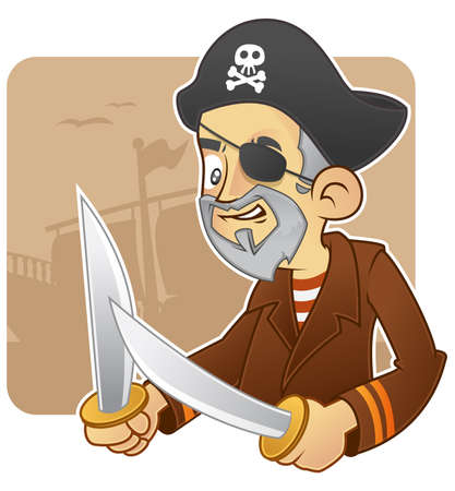 Angry pirate holds swords. silhouette ship as a background Illustration