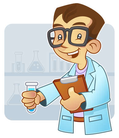 Young scientist doing an experiment in laboratory