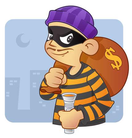 People occupation illustration - burglar in action Illustration
