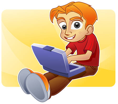 Happy boy blogging and browsing the net with his laptop Illustration