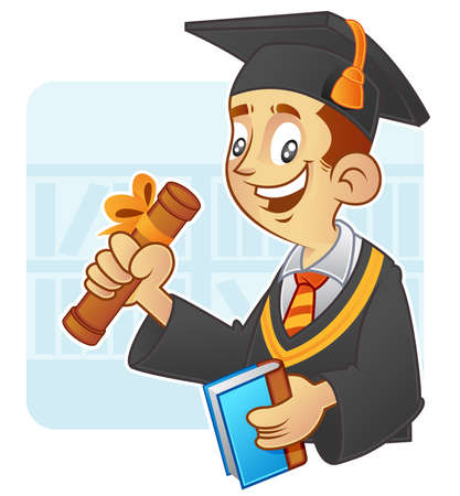 Young student wearing mortarboard and Graduation Gown Illustration