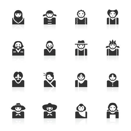 Avatar of multi culture vector icons set isolated over white background