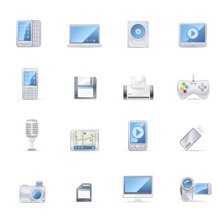 Gadget and Media vector icons.