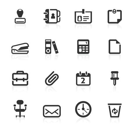 Office vector icons set isolated over white background Illustration