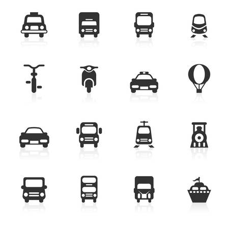Transportation vector icons set isolated over white background