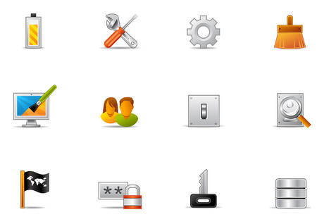 Commonly used control panel icons. Illustration