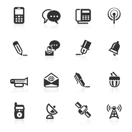 Communications icons vector icons set isolated over white background