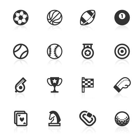 Sports vector icons set isolated over white background