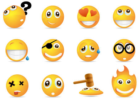 Smiley emoticons icons illustration.