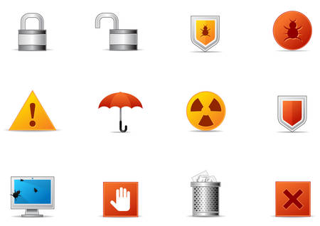 Commonly used Danger, Protection and Security icons.
