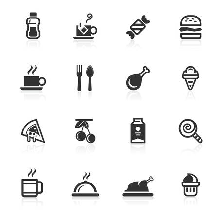 Food and beverages vector icons set isolated over white background