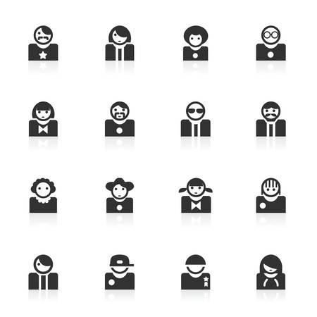Avatar vector icons set isolated over white background Illustration
