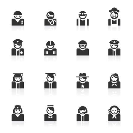 Avatar of different occupation vector icons set isolated over white background Illustration