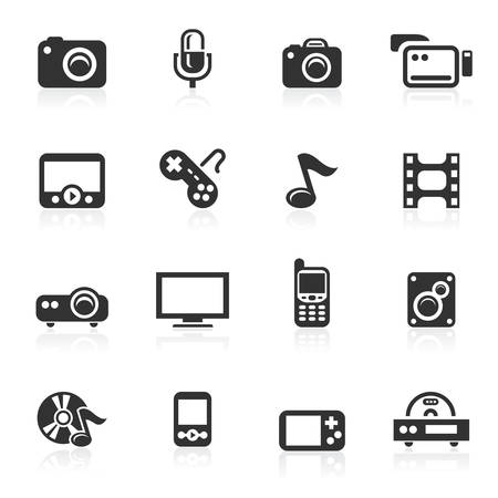 Multimedia vector icons set isolated over white background Illustration