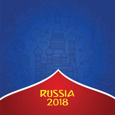 Russian 2018 world cup background with dominant blue color. Doddle illustration of russian object and culture as background.