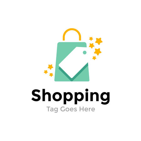 Online shop vector logo template with shopping bag and price tag.
