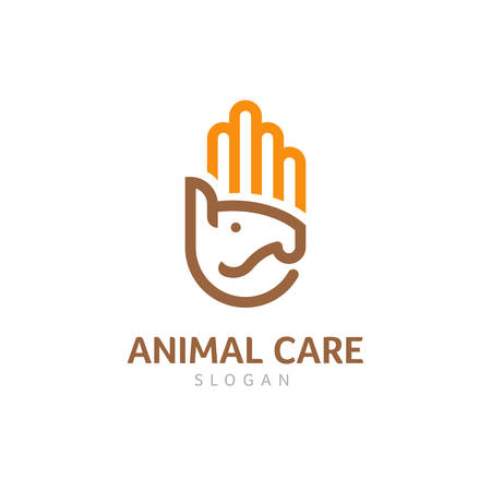 Animal Care Logo With Horse and Human Hand Illustration