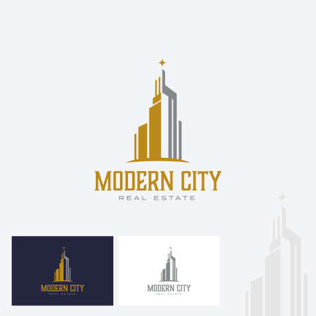 Real estate & office logo design with Modern sky scrapper building.