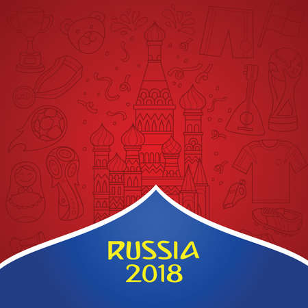 Russian 2018 world cup background with dominant red color. Doddle illustration of russian object and culture as background. Illustration