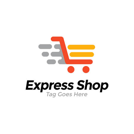 Online shop vector logo template. Express shop represented by chart. Illustration