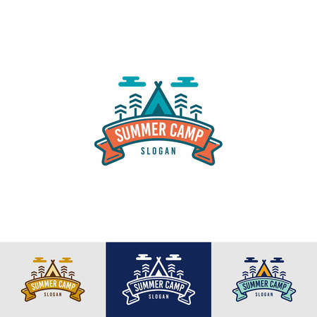 Vintage Summer Camp Logo Template