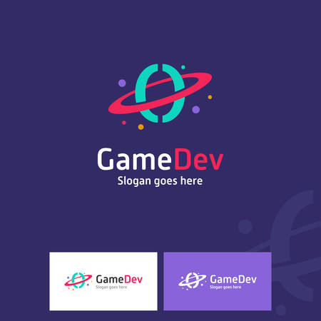 Colorful Game Developer Logo With Coding Symbol as A Planet