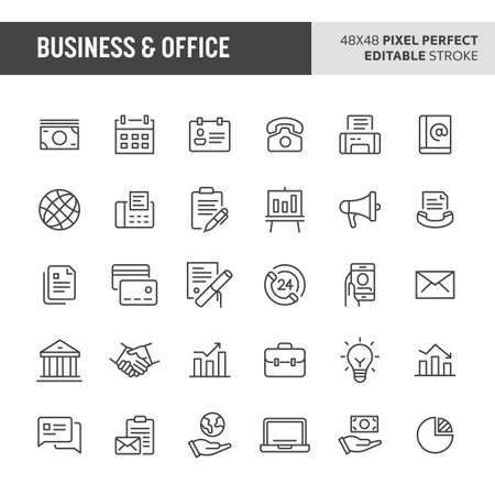 30 thin line icons associated with business and office with symbols such as office tools, money-related items, business related items (metaphor of successful, legallaws and documents metaphors) are included in this set. 48x48 pixel perfect vector icon with editable stroke.