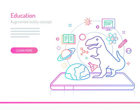 The concept of augmented reality in education. Thick line with colorful gradient style vector illustrations.