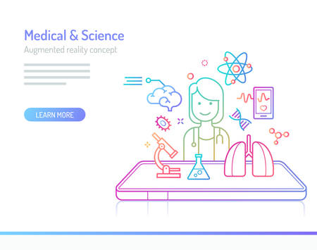 The concept of augmented reality in medical and science. Thick line with colorful gradient style vector illustrations. Illustration