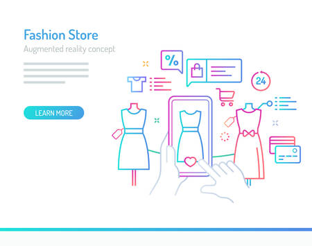 The concept of augmented reality in fashion store, a product info collected by a mobile phone. Thick line with colorful gradient style vector illustrations. Illustration