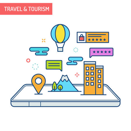 The concept of augmented reality in travel and tourism with hotels, landmarks and air balloons out of mobile phones.