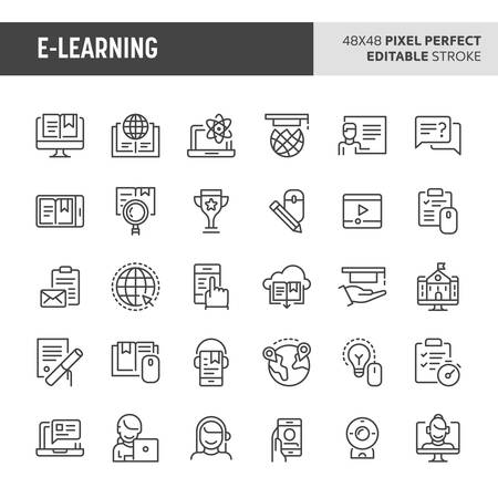 30 thin line icons associated with electronic media learning or online training with symbols such as course program, electronic resources,  multimedia equipment and virtual education are included in this set. 48x48 pixel perfect vector icon with editable stroke. Illustration