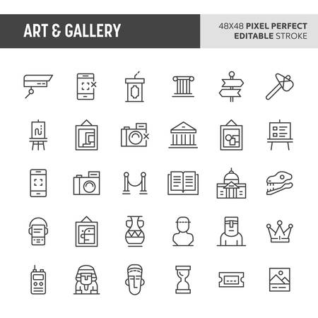 30 thin line icons associated with art and gallery with symbols such as historical object, artworks and museum related objects are included in this set. 48x48 pixel perfect vector icon with editable stroke.