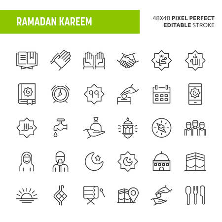 30 thin line icons associated with Ramadan with symbols such as zakat, infaq (charity) and other islamic and ramadan related objects are included in this set. 48x48 pixel perfect vector icon with editable stroke. Illustration