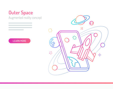 The concept of augmented reality in outer space with stars and planets coming out of mobile phones. Thick line with colorful gradient style vector illustrations.
