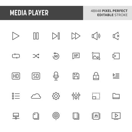30 thin line icons associated with media player with various button used in video and audio player are included in this set. 48x48 pixel perfect vector icon with editable stroke.