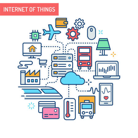Conceptual Illustrations of the Internet of Things. industrial buildings, transportation, electronic devices and e commerce connected to cloud-based servers.