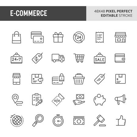 30 thin line icons associated with store and e-commerce with symbols such as store object, payment method and shipping are included in this set. 48x48 pixel perfect vector icon with editable stroke. Illustration