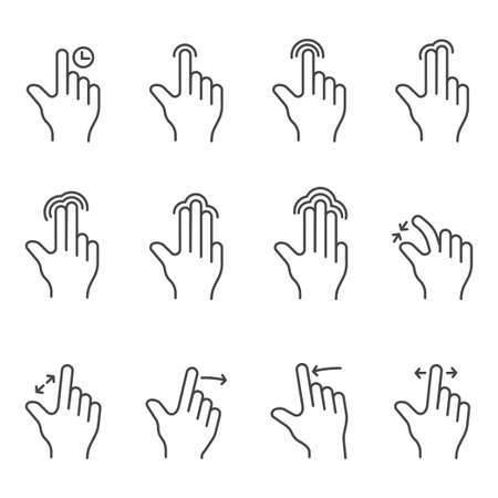 Touch screen gesture illustration over white background