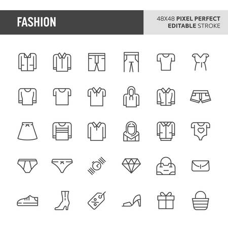 30 thin line icons associated with fashion with symbols such as clothes and other wearable accessories are included in this set. 48x48 pixel perfect vector icon with editable stroke. Illustration