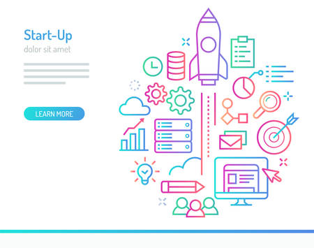 Start up related illustration. A space ship rocket launched over colorful info graphic elements.