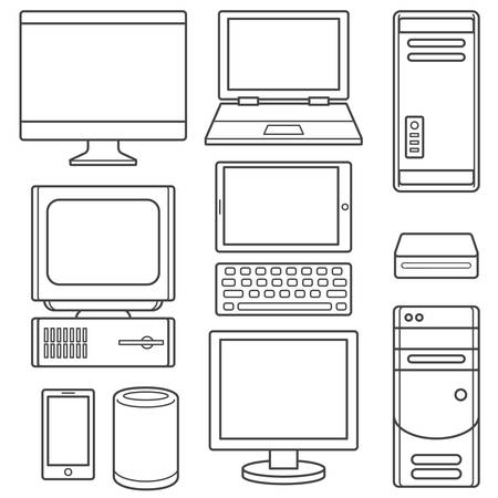 Computer device outline illustration isolated over white background