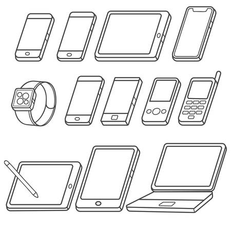 Mobile device outline illustration isolated over white background
