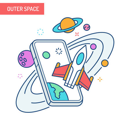 The concept of augmented reality in outer space with stars and planets coming out of mobile phones. Illustration